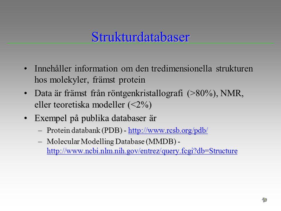 Strukturdatabaser Innehåller information om den tredimensionella strukturen hos molekyler, främst protein.