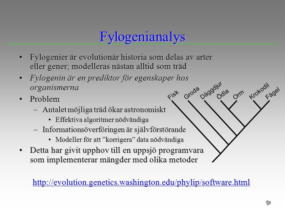 Fylogenianalys Fylogenier är evolutionär historia som delas av arter eller gener; modelleras nästan alltid som träd.