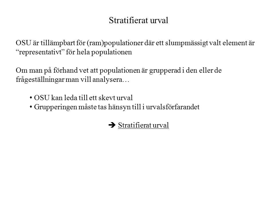 Stratifierat urval OSU är tillämpbart för (ram)populationer där ett slumpmässigt valt element är representativt för hela populationen.