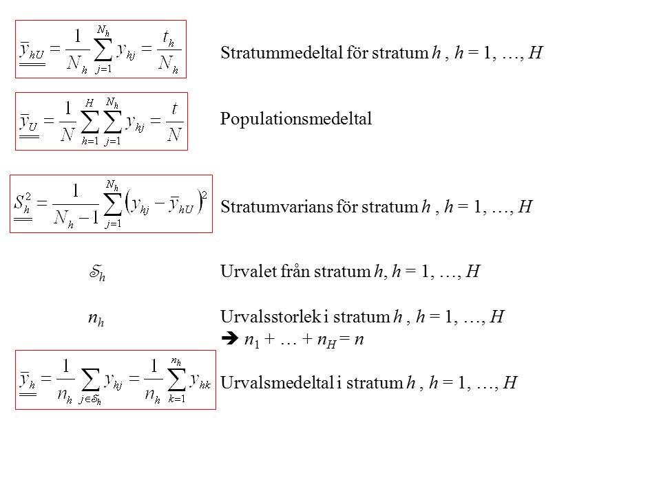 Stratummedeltal för stratum h , h = 1, …, H