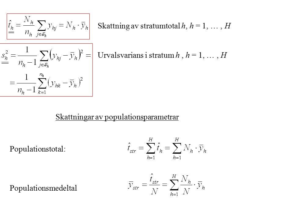 Skattning av stratumtotal h, h = 1, … , H