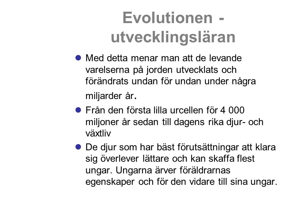 Evolutionen - utvecklingsläran