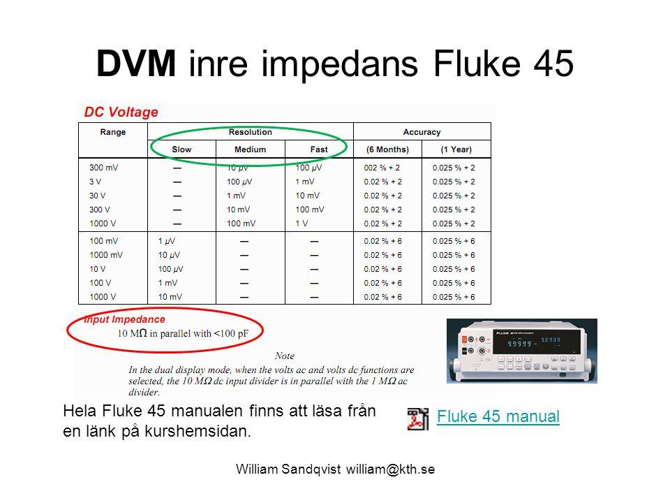 DVM inre impedans Fluke 45