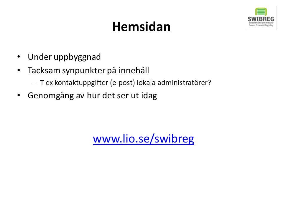 Hemsidan www.lio.se/swibreg Under uppbyggnad