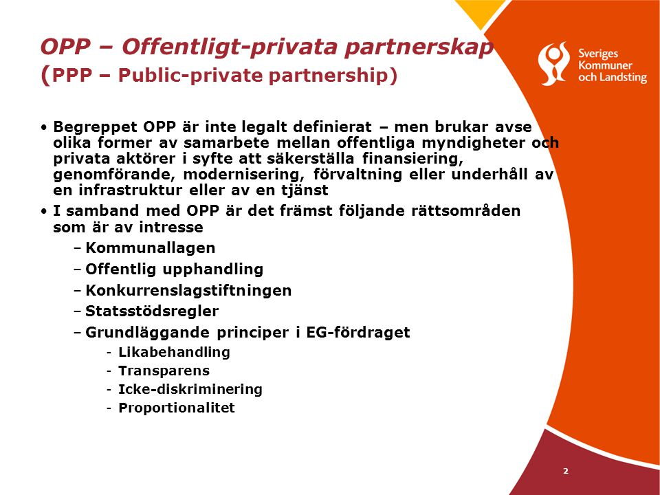 OPP – Offentligt-privata partnerskap (PPP – Public-private partnership)