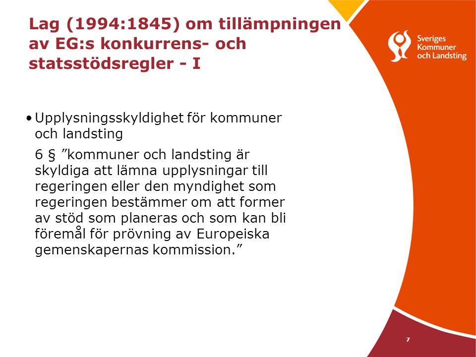 Lag (1994:1845) om tillämpningen av EG:s konkurrens- och statsstödsregler - I