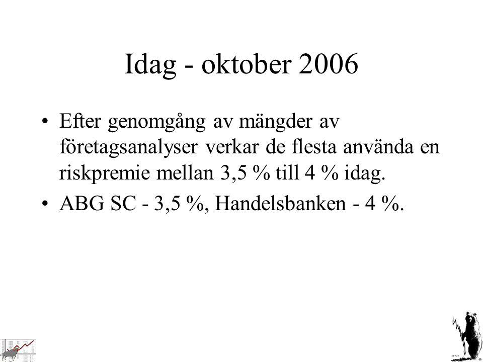 Idag - oktober 2006 Efter genomgång av mängder av företagsanalyser verkar de flesta använda en riskpremie mellan 3,5 % till 4 % idag.