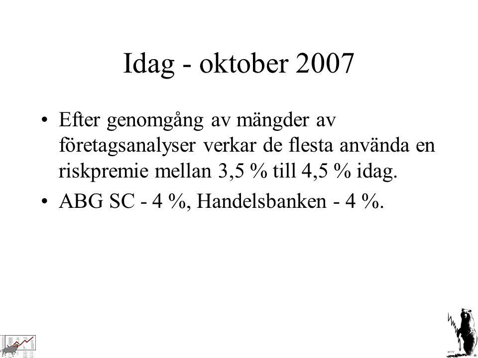 Idag - oktober 2007 Efter genomgång av mängder av företagsanalyser verkar de flesta använda en riskpremie mellan 3,5 % till 4,5 % idag.