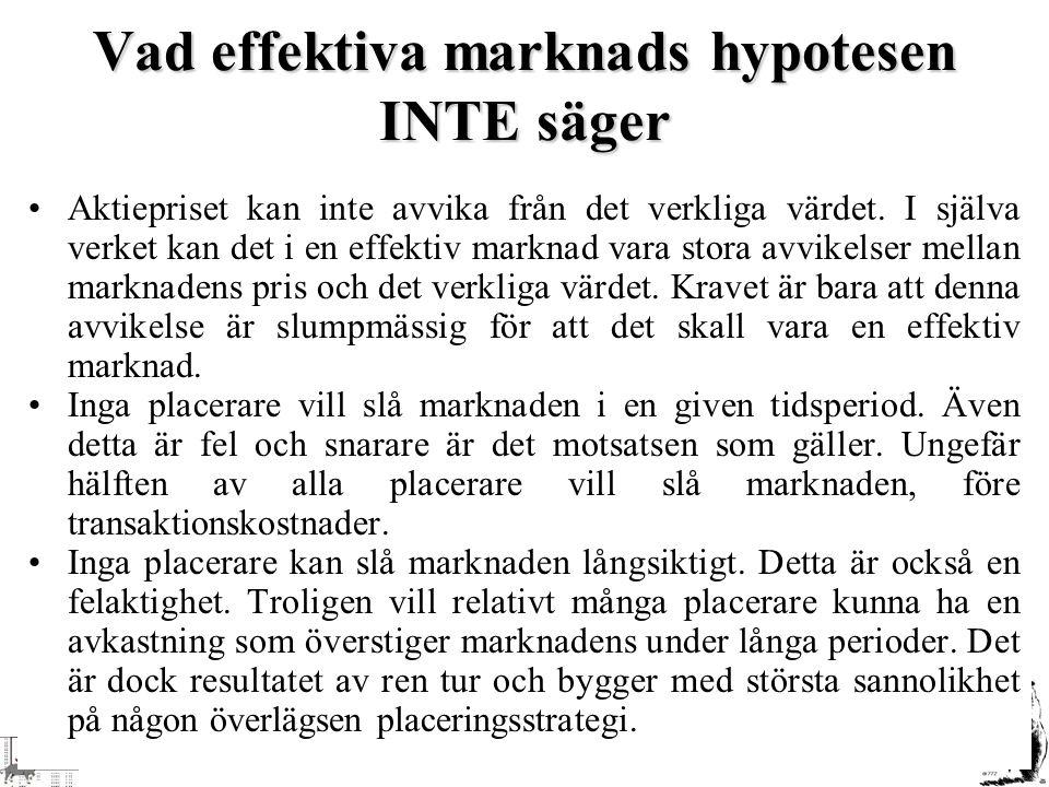 Vad effektiva marknads hypotesen INTE säger