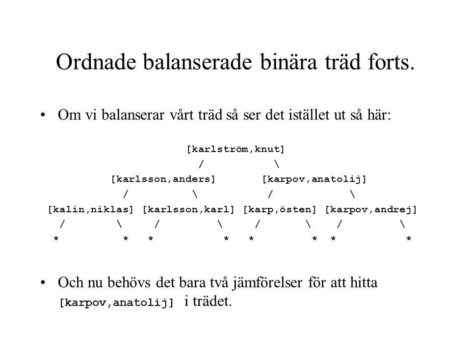 Ordnade balanserade binära träd forts.
