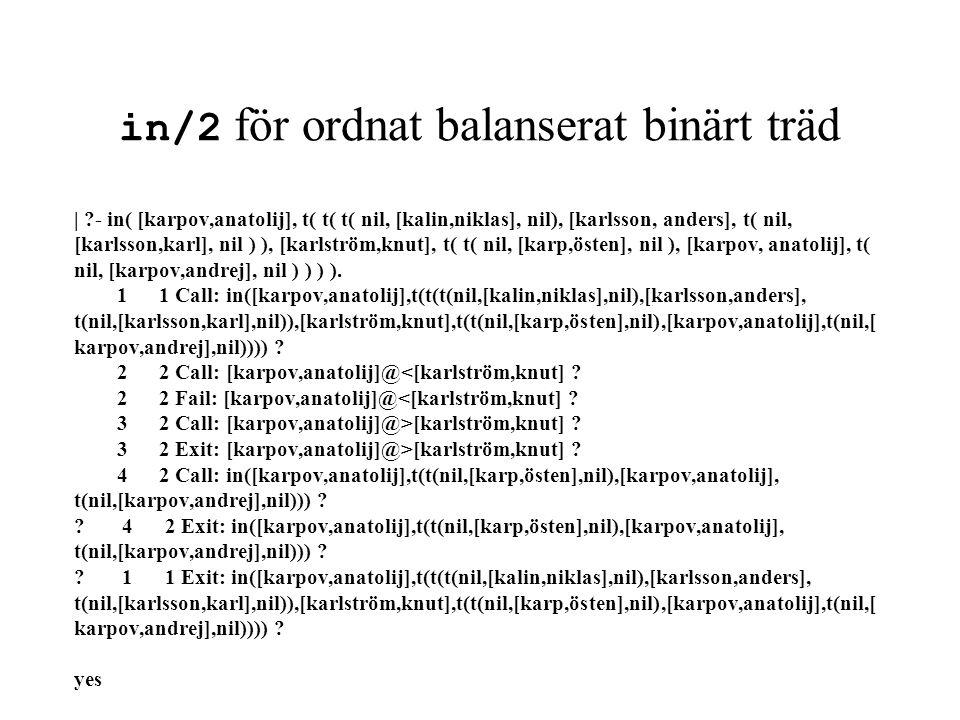 in/2 för ordnat balanserat binärt träd