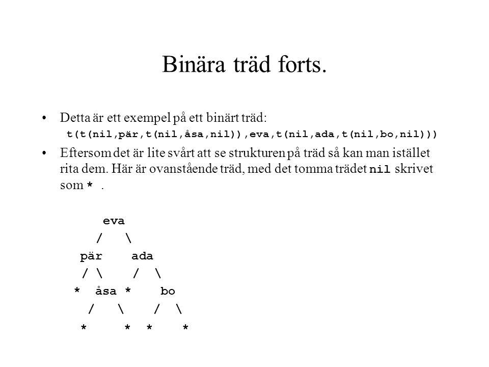 Binära träd forts. Detta är ett exempel på ett binärt träd:
