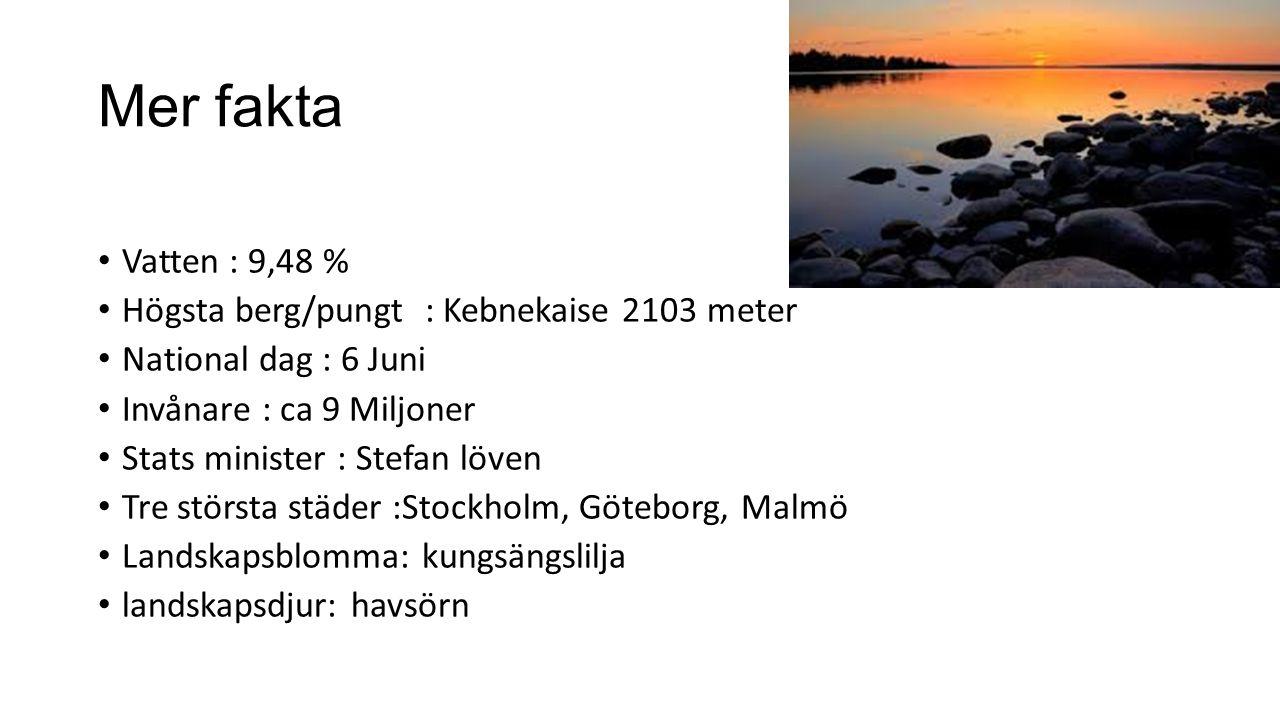 Mer fakta Vatten : 9,48 % Högsta berg/pungt : Kebnekaise 2103 meter