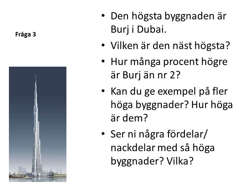 Den högsta byggnaden är Burj i Dubai. Vilken är den näst högsta