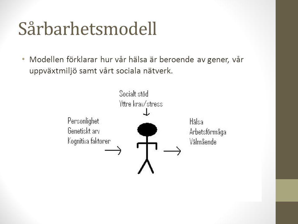 Sårbarhetsmodell Modellen förklarar hur vår hälsa är beroende av gener, vår uppväxtmiljö samt vårt sociala nätverk.