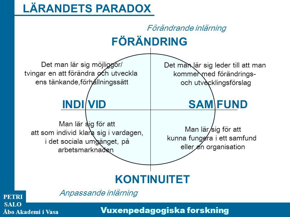 LÄRANDETS PARADOX FÖRÄNDRING INDI VID SAM FUND KONTINUITET