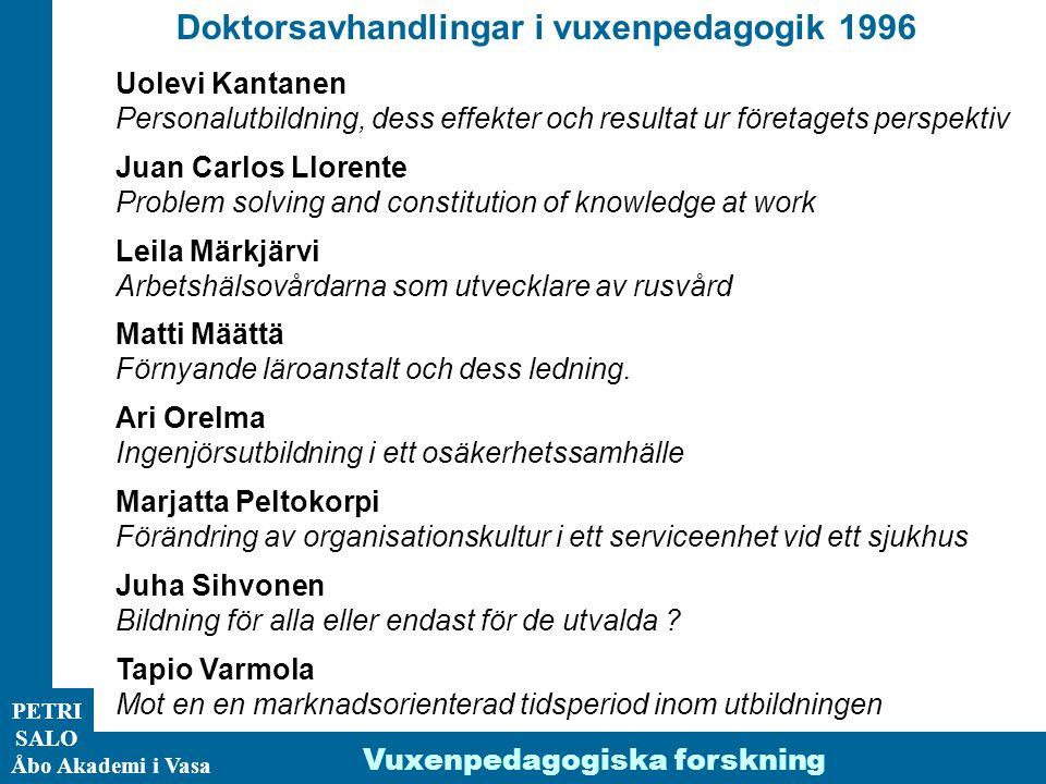 Doktorsavhandlingar i vuxenpedagogik 1996