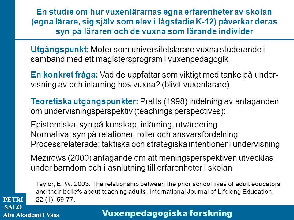 Utgångspunkt: Möter som universitetslärare vuxna studerande i