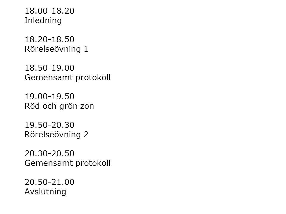 18. 00-18. 20 Inledning 18. 20-18. 50 Rörelseövning 1 18. 50-19