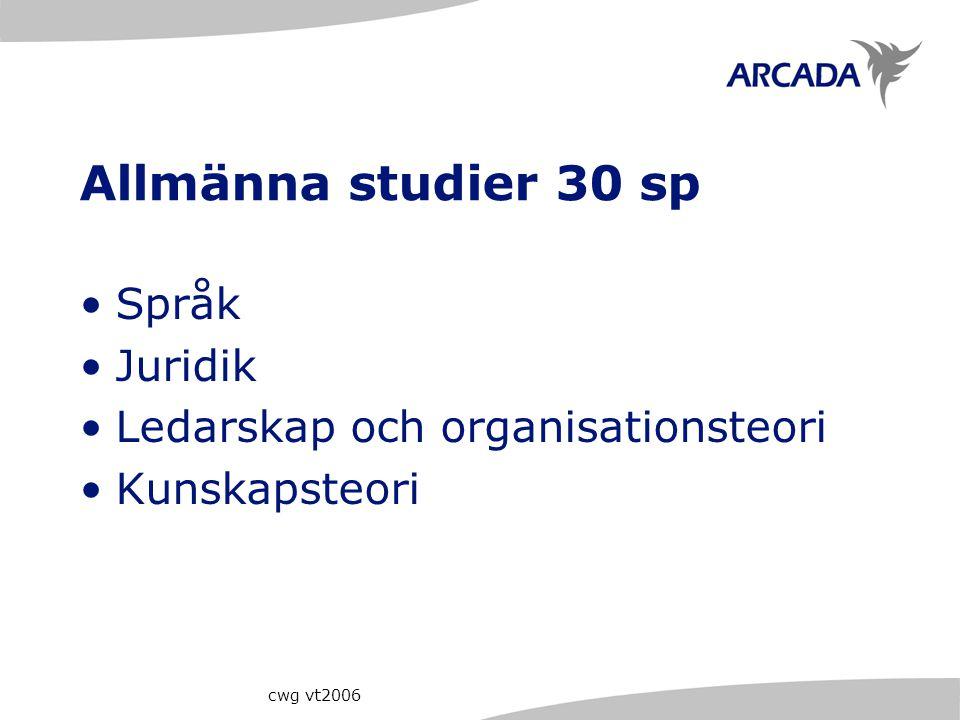 Allmänna studier 30 sp Språk Juridik Ledarskap och organisationsteori