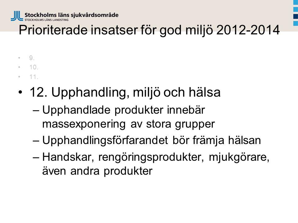 Prioriterade insatser för god miljö 2012-2014
