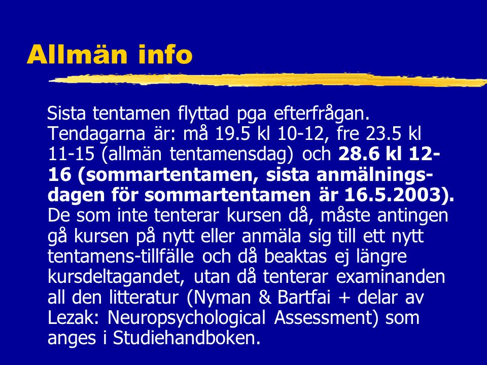 Allmän info