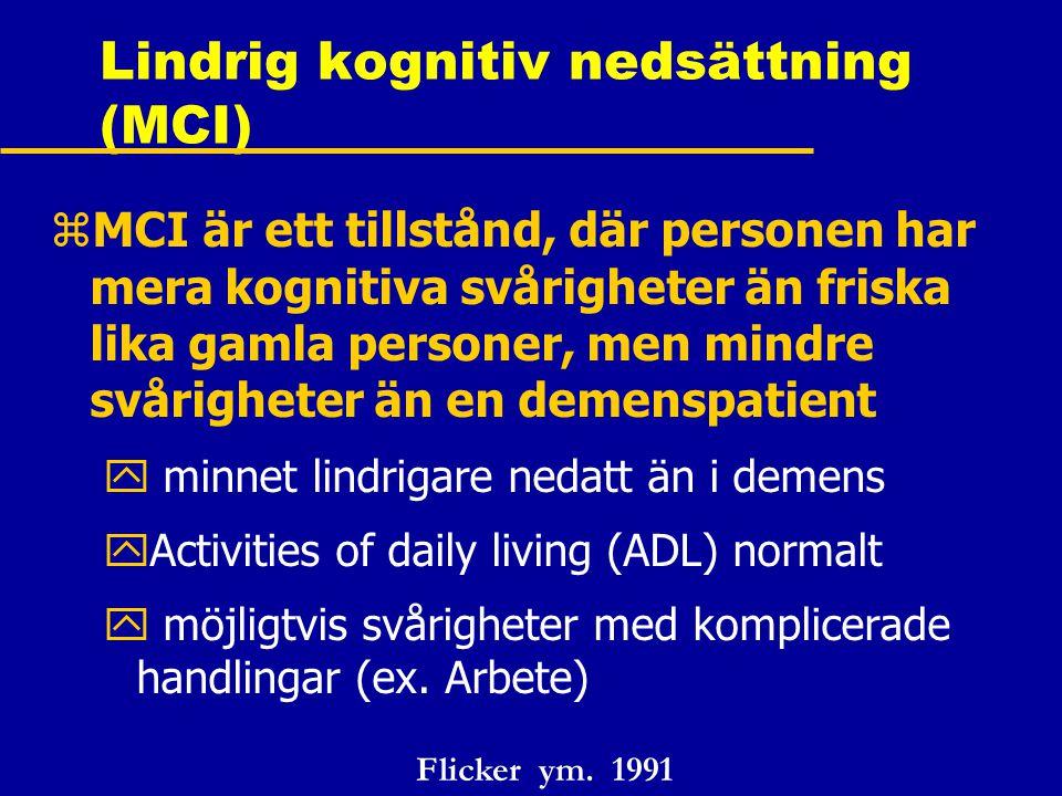 Lindrig kognitiv nedsättning (MCI)