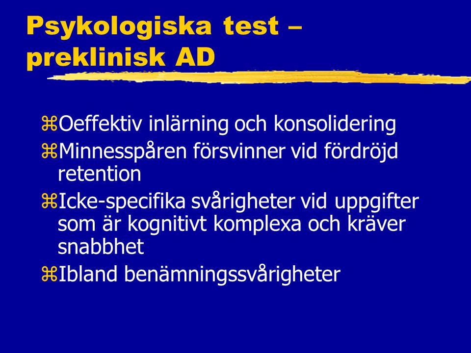 Psykologiska test – preklinisk AD