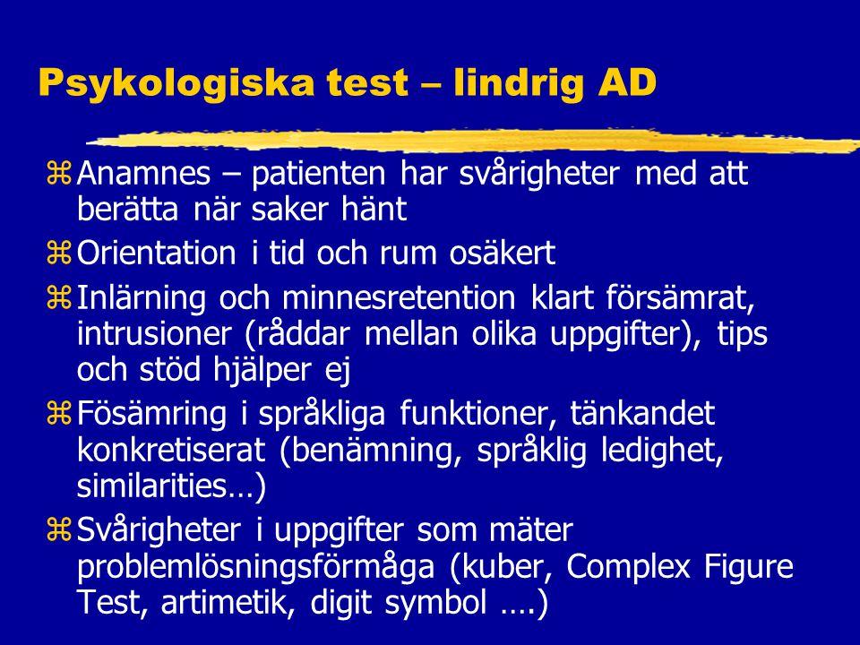 Psykologiska test – lindrig AD
