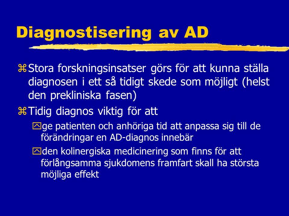 Diagnostisering av AD Stora forskningsinsatser görs för att kunna ställa diagnosen i ett så tidigt skede som möjligt (helst den prekliniska fasen)