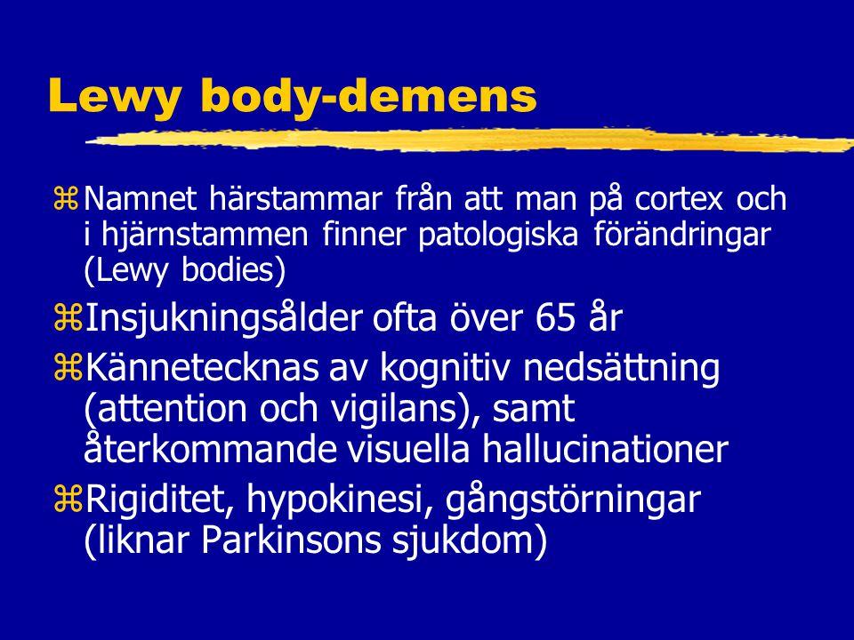 Lewy body-demens Insjukningsålder ofta över 65 år