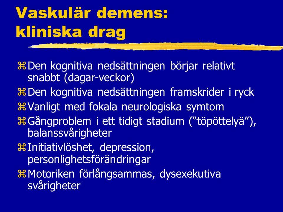 Vaskulär demens: kliniska drag
