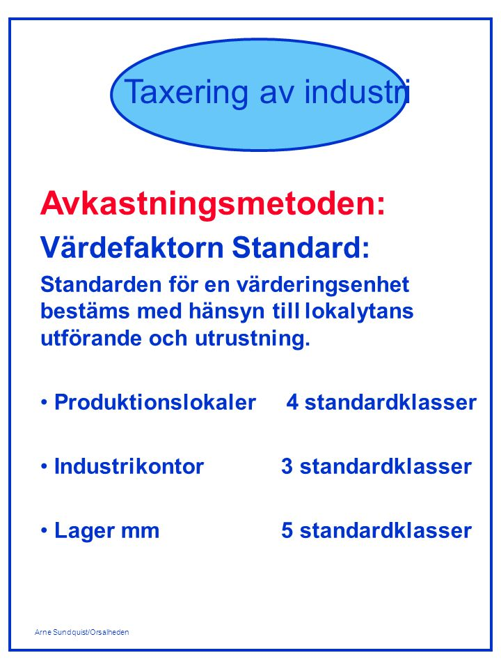 Avkastningsmetoden: Värdefaktorn Standard: