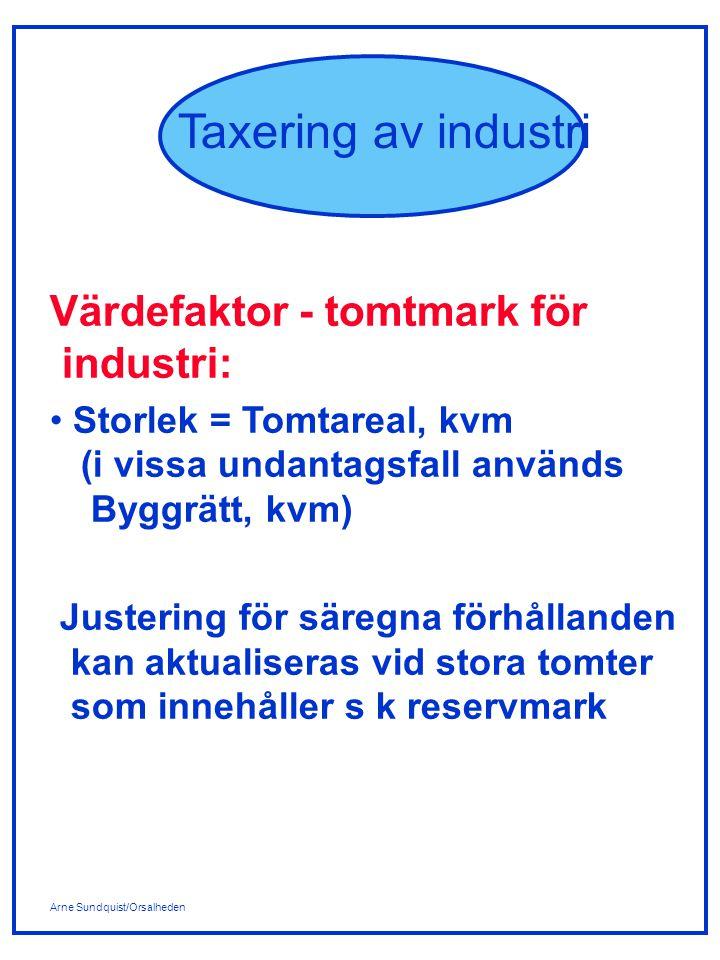 Värdefaktor - tomtmark för industri: