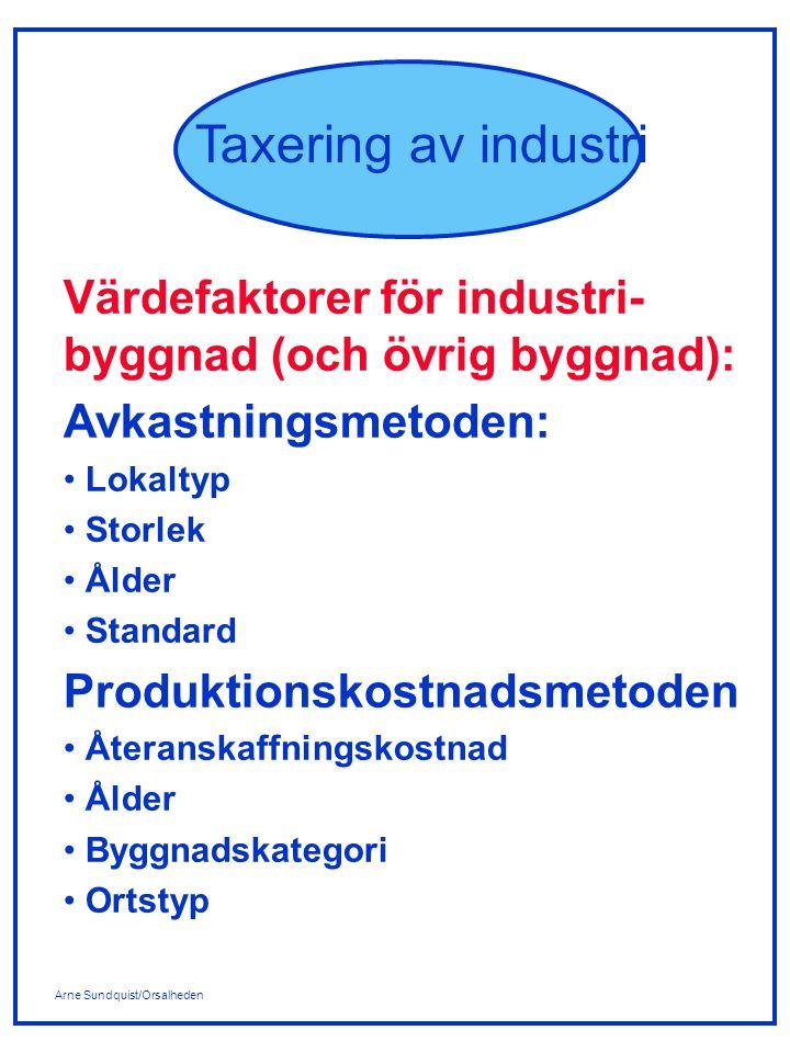 Värdefaktorer för industri-byggnad (och övrig byggnad):
