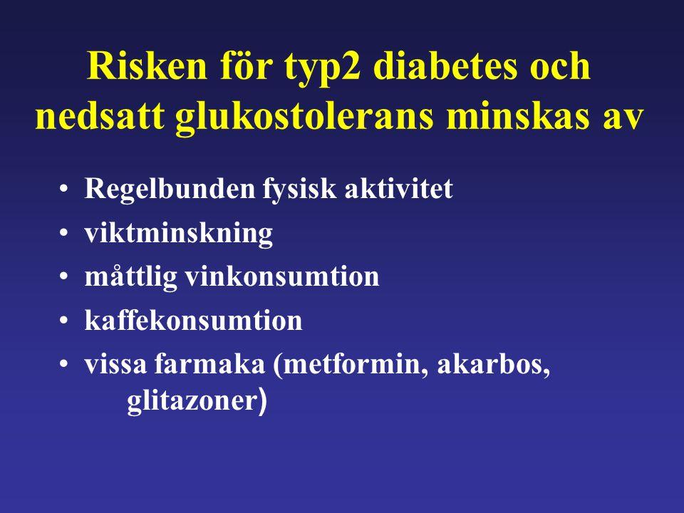 Risken för typ2 diabetes och nedsatt glukostolerans minskas av