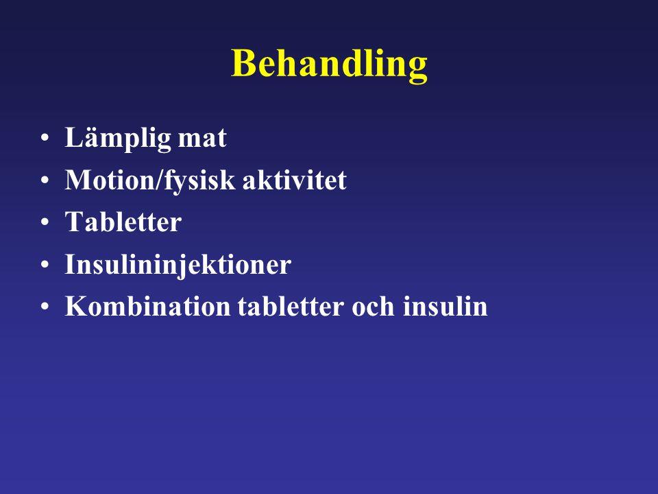 Behandling Lämplig mat Motion/fysisk aktivitet Tabletter
