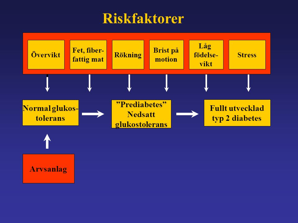 Riskfaktorer Prediabetes Normal glukos- Fullt utvecklad Nedsatt