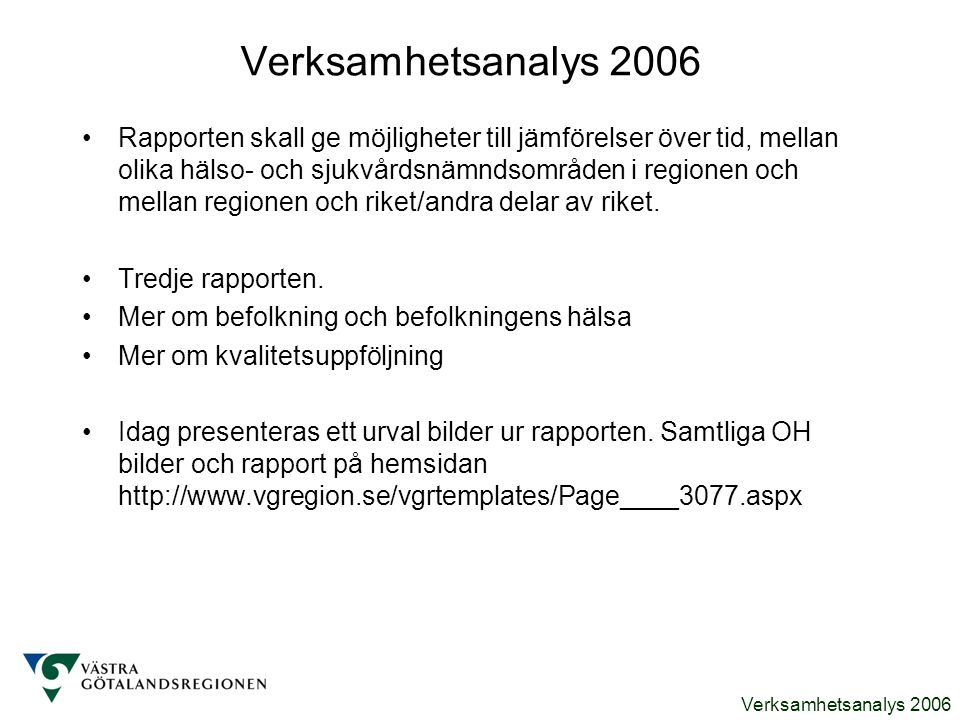 Verksamhetsanalys 2006