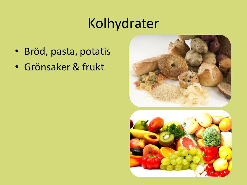 Kolhydrater Bröd, pasta, potatis Grönsaker & frukt
