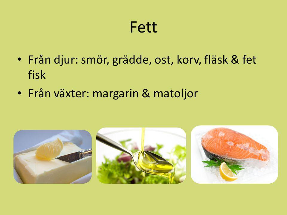 Fett Från djur: smör, grädde, ost, korv, fläsk & fet fisk