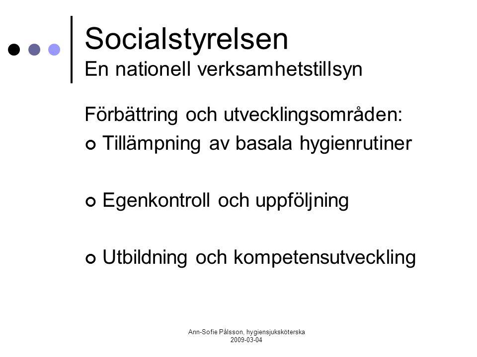 Socialstyrelsen En nationell verksamhetstillsyn