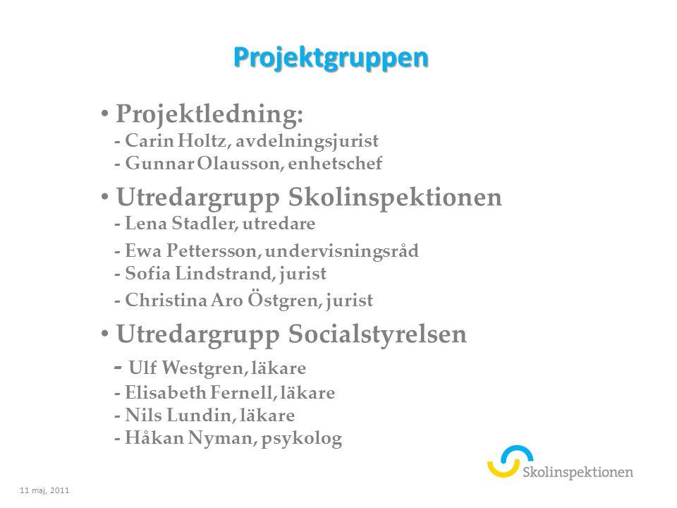Projektgruppen Projektledning: - Carin Holtz, avdelningsjurist - Gunnar Olausson, enhetschef.