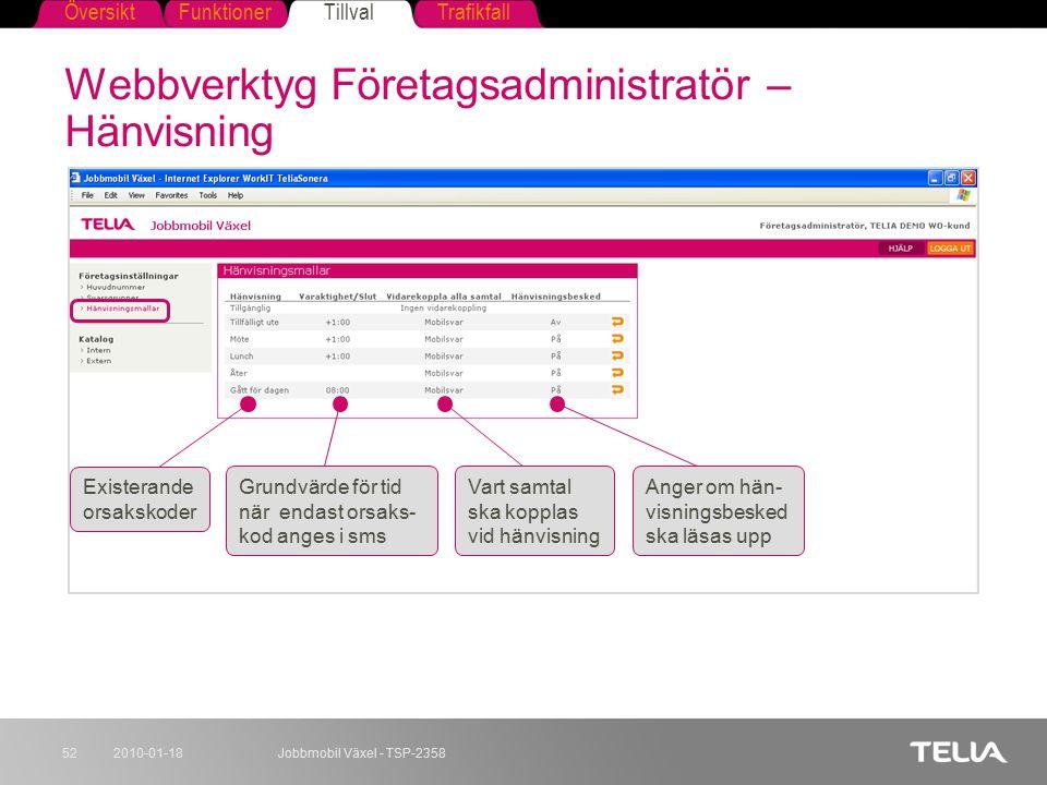 Webbverktyg Företagsadministratör – Hänvisning