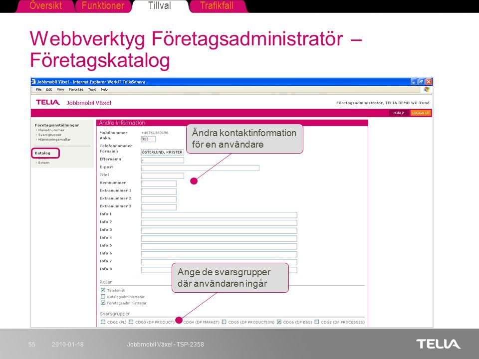 Webbverktyg Företagsadministratör – Företagskatalog