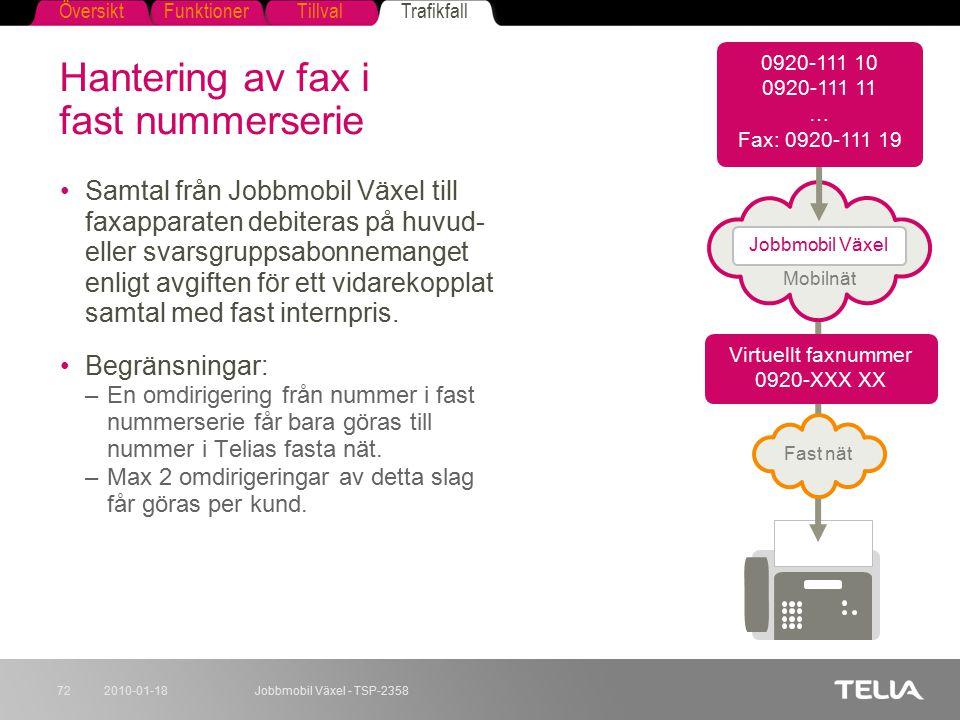 Hantering av fax i fast nummerserie