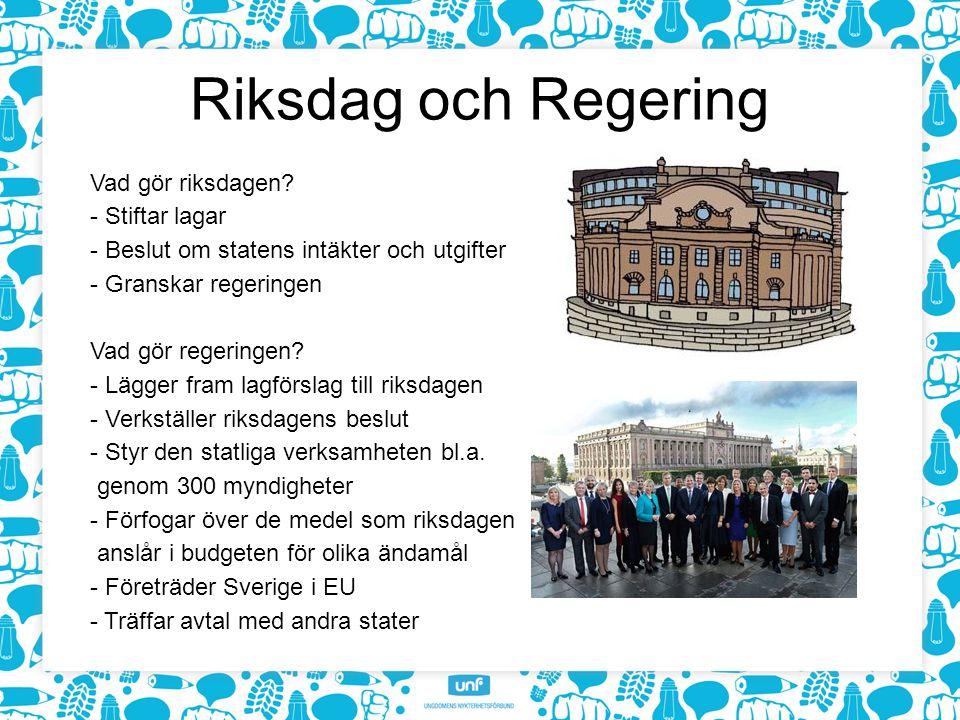 Riksdag och Regering Vad gör riksdagen - Stiftar lagar