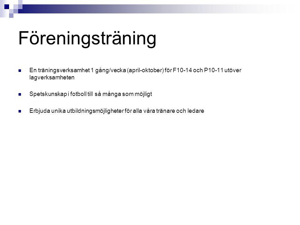 Föreningsträning En träningsverksamhet 1 gång/vecka (april-oktober) för F10-14 och P10-11 utöver lagverksamheten.