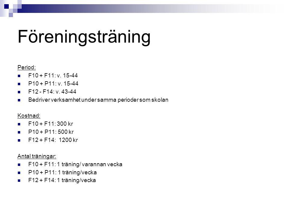 Föreningsträning Period: F10 + F11: v. 15-44 P10 + P11: v. 15-44