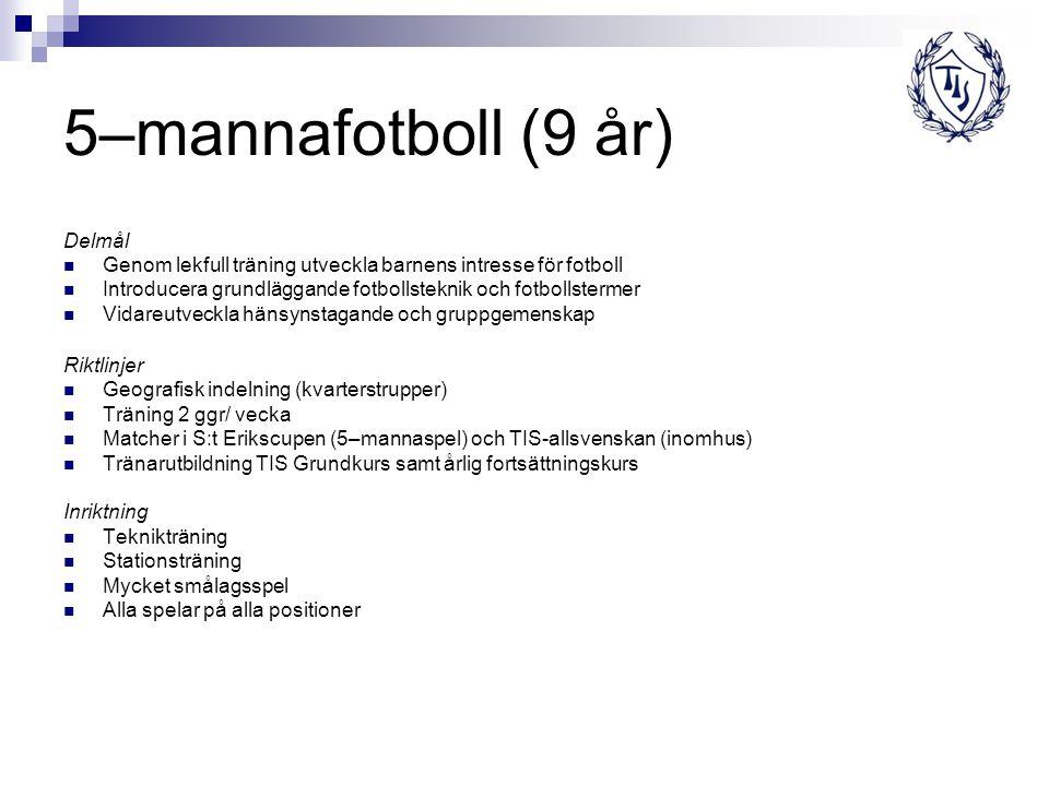 5–mannafotboll (9 år) Delmål